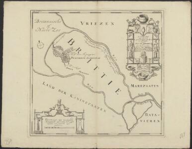 Landkaart van de oude uytwateringen des Ryns ter wederzyde van 't Hof van Agrippina, of het t'hans genaamde Huys te Britte: de vuurboet van keyzer Caligula mitsgaders de afbeelding der in het zelfve gevondene zeldsaamheden.