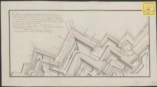 Plan van het front tussen bastion D'Estrades en het uitgaan der Tongerse Poort te Maastricht, waar op aangetoond word, de nieuwe te maken redan a, met onderleggende caponieren en poterne ... volgens Project van den Colonel du Moulin ...