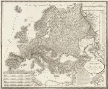 Carte générale orographique et hydrographique de l'Europe, qui montre les principales ramifications des montagnes, fleuves et chemins avec les principales villes