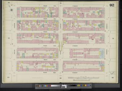 Manhattan, V. 5, Double Page Plate No. 92 [Map bounded by W. 37th St., 8th Ave., W. 32nd St., 10th Ave.]