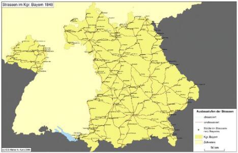 Straßen im Königreich Bayern 1848