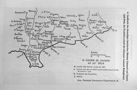 Landkarte des ehemaligen lateinischen Bistums Limassol auf Zypern (mit Seria, der Feudalherrschaft des Johannes Laskaris Kalopheros)
