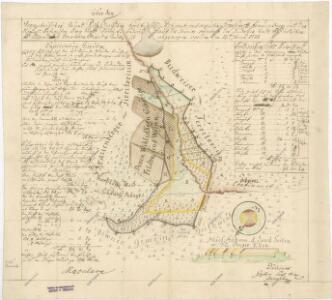 Hraniční mapa panství Hluboká n. Vltavou s městem České Budějovice u rybníka Vražedník nad Rudolfovem 1