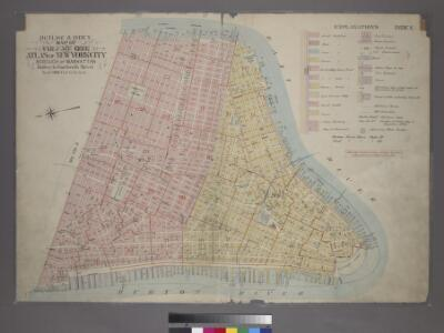 Outline & Index Map of Volume One, Atlas of New York City, Borough of Manhattan: Battery to Fourteenth Street.
