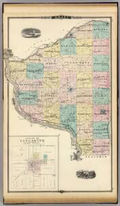 Map of Grant County and Village of Lancaster, State of Wisconsin.