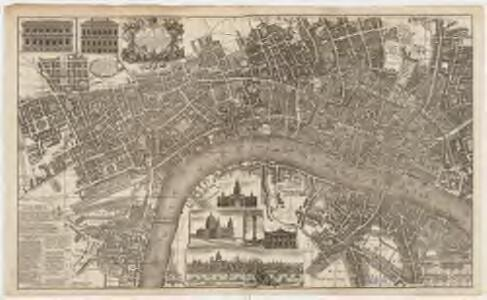 London surveyed, or, a new map of the cities of London and Westminster and the boroguh of Southwark : shewing the several streets and lanes with the most of the alleys & thorough fairs with the additional new buildings to this present year 1742