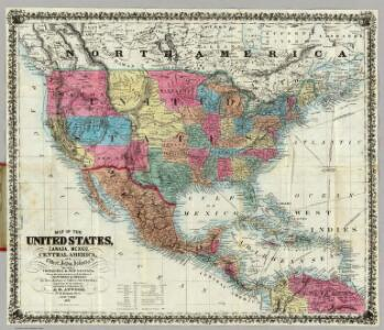 Map Of The United States, Canada, Mexico, Central America, and the West India Islands.