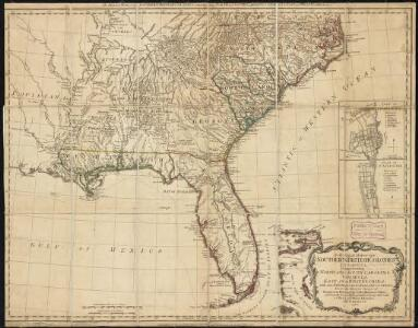 A general map of the southern British colonies, in America comprehending North and South Carolina, Georgia, East and West Florida, with the neighbouring Indian countries : from the modern surveys of Engineer de Brahm, Capt. Collet, Mouzon & others
