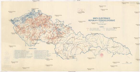 Mapa elektrisace Republiky československé