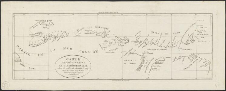 Carte des découvertes de l'expédition N.O. sous les ordres Capitaine Parry, dans les années 1819 et 1820