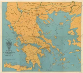 Carte du reseau routes principales de la Grece