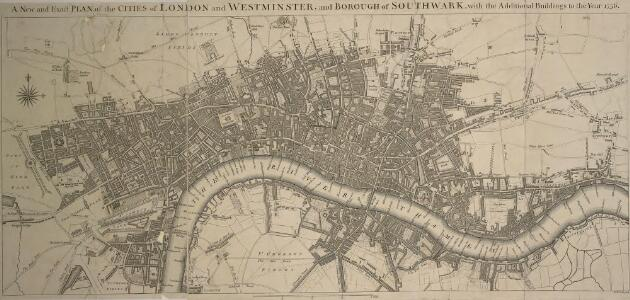 A New and Exact PLAN of the CITIES of LONDON and WESTMINSTER and BOROUGH of SOUTHWARK, with the Additional Buildings to the Year 1756