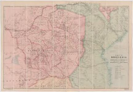 A map of Rhodesia divided into provinces and districts under the administration of the British South Africa Company