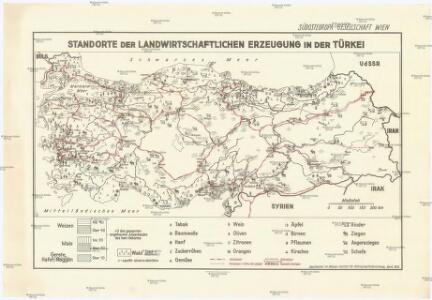 Standorte der landwirtschaftlichen Erzeugung in der Türkei