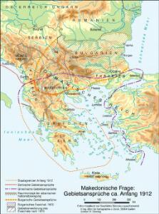 Makedonische Frage: Gebietsansprüche ca. Anfang 1912