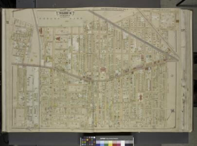 Queens, Vol. 1, Double Page Plate No. 4; Part of ward 4, Jamaica; [Map bounded by Manor Ave., Willard Ave., Magnolia Ave., Park Ave.,  Prospect Ave., Waterbury Ave., Garfiled Ave., Grant Ave., Cleveland Ave.,        Orchard Ave., Lincoln Ave., Washing