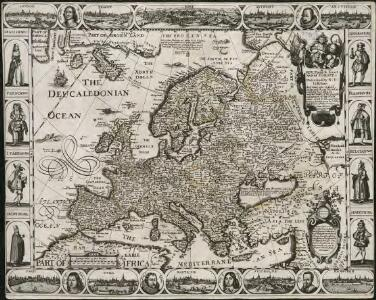 A new, plaine & exact map of Europe, described by N.I. Visscher and done into English, enlarged & corrected according to I. Blaeu, with the habits of the people, and manner of the cheife cities, 1658, the like never before