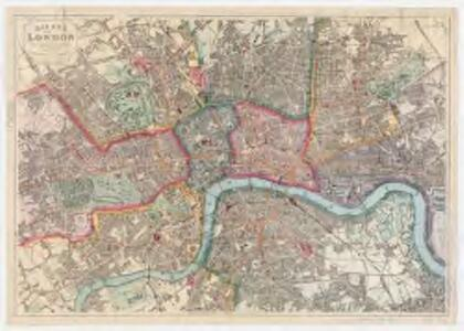 Bacon's map of London : with railways in operation and constructing corrected to date