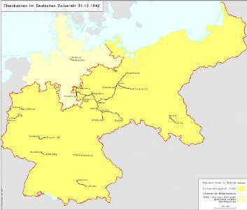 Eisenbahnen im Deutschen Zollverein 31.12.1842