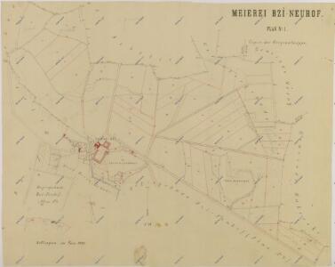 Mapa nového vyměření režijních pozemků Nového dvora na statku Bzí 1
