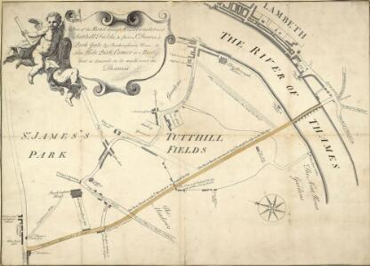 Plan of the Road through Westminster and Tutthill Fields & from St. James's Park Gate by Buckingham House & from Hyde Park Corner to a Bridge that is desired to be made over the Thames 1768 27