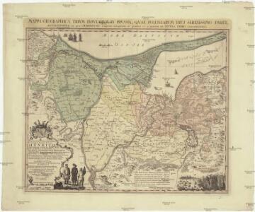 Mappa geographica trivm insvlarvm in Prvssia, qvae Poloniarvm regi serenissimo paret, accvratissima, in qva Gedanensis emporii longitudo 36. gradus et 21. minuta ab insvla Ferro connumeratur