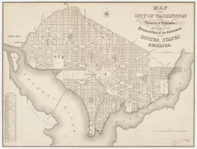 Map of the city of Washington in the District of Columbia : established as the permanent seat of the government of the United States of America