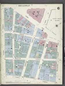 Manhattan, V. 1, Plate No. 6 [Map bounded by Broadway, Frankfort St., Gold St., Fulton St.]
