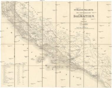 Strassen-Karte des Königreich's Dalmatien