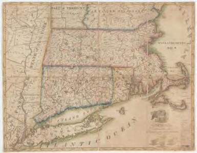 A map of Massachusetts, Connecticut and Rhodeisland