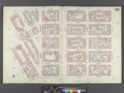 Manhattan, V. 1, Double Page Plate No. 29 [Map bounded by Ridge St., Rivington St., Cannon St., Jackson St., Madison St., Montgomery St.]