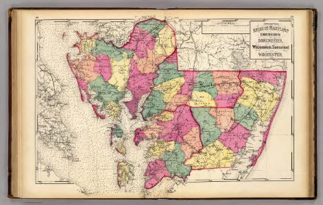 Topo. atlas Maryland: counties of Dorchester, Wicomico, Somerset & Worcester.