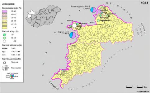 A németek településterülete a szomszédsági mutató alapján Nyugat-Magyarországon 1941-ban