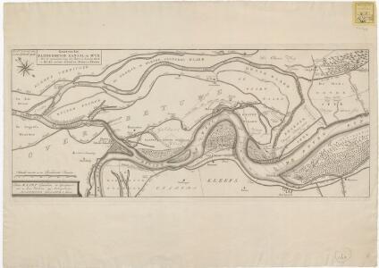 Kaart van het Pannerdense Kanaal en Spyk met de veranderde loop der Boven en Beneden Ryn en Waal omtrent Schenken-Schans en Herwen