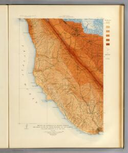 Santa Cruz quadrangle showing intensity, faults.