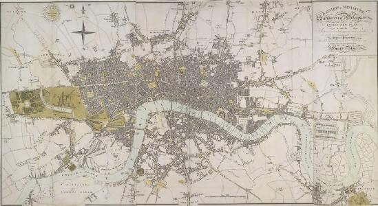 LONDON IN MINIATURE WITH THE Surrounding AN ENTIRE NEW PLAN In which the Improvements both present and intended are actually reduced (by permission) from the surveys of Several Proprietors