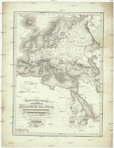 Übersichts Karte zu den Reisen in Europa, Asien und Afrika unternommen von dem k. k. oesterreich. Bergrathe Joseph Russegger in den Jahren von 1835 bis 1841