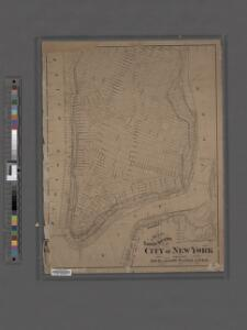 Map of the lower section of the city of New York : showing high and low water lines.