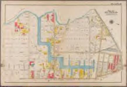 Plate 16: [Bounded by Newton Creek (Seneca Avenue), Grand Street, Gardner Avenue, Metropolitan Avenue, Scott Avenue, Meserole Street, Seneca Avenue, Purdy Place, Flushing Avenue, Knickerbocker Avenue, Morgan Avenue and Amos Street.]; Atlas of the borough of Brooklyn, city of New York: from actual surveys and official plans by George W. and Walter S. Bromley.