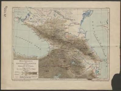 Höhenschichtenkarte der Kaukasusländer mit Reiserouten Dr. G. Raddes