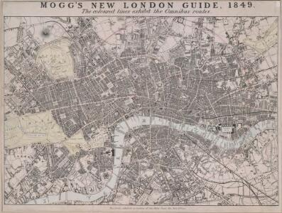 MOGG'S NEW LONDON GUIDE, 1849. The Coloured lines exhibit the Omnibus routes.