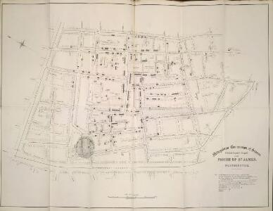 Frontage plan in the parish of St. James, Westminster. From Report on an Enquiry and Examination into the State of the Drainage of the House situated in that part of the Parish of St. James, Westminster, in which deaths have occurred from Cholera to so great an extent.