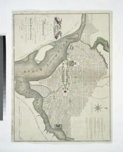 Plan of the city of Washington, in the territory of Columbia : ceded by the States of Virginia and Maryland to the United States of America, and by them established as the seat of their government after the year 1800 / J. Russell, sculpt., Constitu'n Row