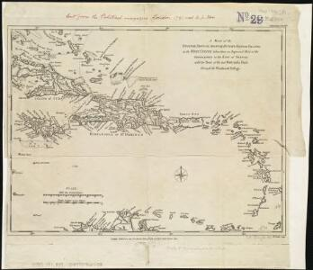 A map of the English, French, Spanish, Dutch, & Danish Islands, in the West Indies, taken from an improved map of the geographer to the King of France, with the tract of the last West India Fleet, through the Windward Passage