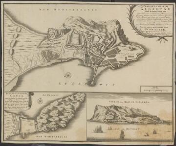 Plan de la ville de Gib[r]altar située au detroit de ce nom: cette ville a pris son nom d'une montagne qui fut ainsi nommée de Tarik Fameux Capitaine des Maures, qui y posa son premier Camp, cest pourquoy on l'appela Gibal-Tarik, en langue maure, comme [...]