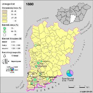 A németek településterülete a szomszédsági mutató alapján Bács-Kiskun megyében 1880-ban