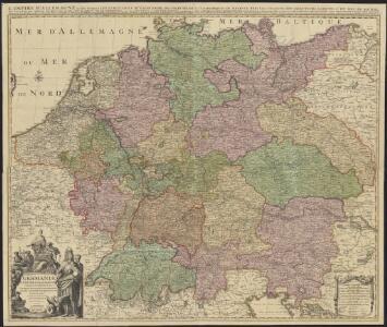 Germaniae = L'empire d'Allemagne distingué suivant l'étendue de tous les estats, principautés et souverainetés qui passent ou qui ont passé jusque a present sous le nom d'Allemagne