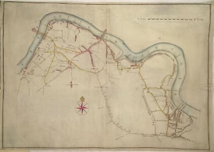 A colored plan, on vellum, of Southwark, and the country on the Surrey side of the Thames from Vauxhall to Deptford, with proposed roads from Westminster Bridge