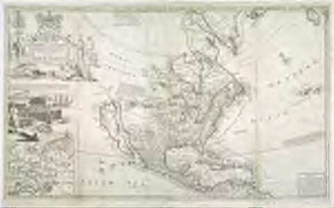 This map of North America according to ye newest and most exact observations is most humbly dedicated by your Lordship's most humble servant / Herman Moll, geographer; B. Lens delin.; G. Vertue sculp.