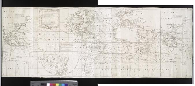 A correct chart of the terraqueous globe, according to Mercator's, or more properly Wright's projection, on which are describ'd lines, shewing the variation of the magnetic needle according to observations made about the year 1744.; Accuratissima totius terrarum orbis tabula nautica / celeberrimo viro Edmd. Halley, LLD., anno 1700 contructa; indice variationes magneticas denota[m?] ad observationes circiter annu 1744 habitas renovata Gulielmo Mountaine et Jacobo Dodson.